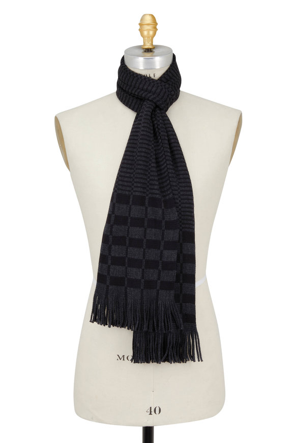 Chelsey Imports Black & Charcoal Wool Knit Scarf