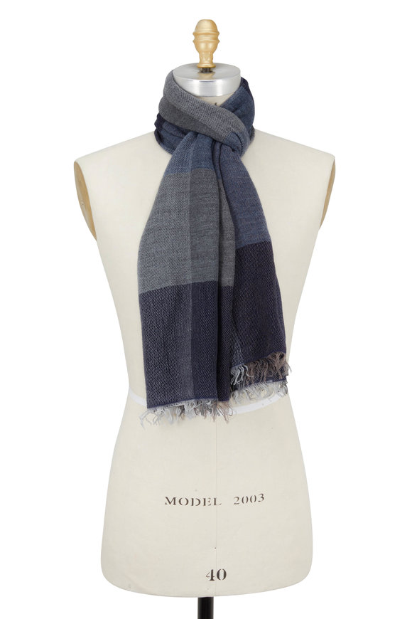Chelsey Imports Navy & Gray Wide Striped Scarf