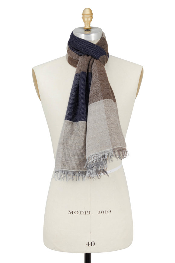 Chelsey Imports Taupe & Navy Wide Striped Scarf