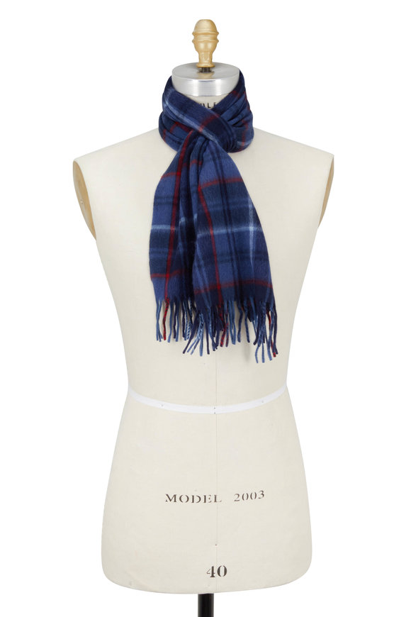 Alex Begg Blue Ontario Plaid Wool & Angora Scarf