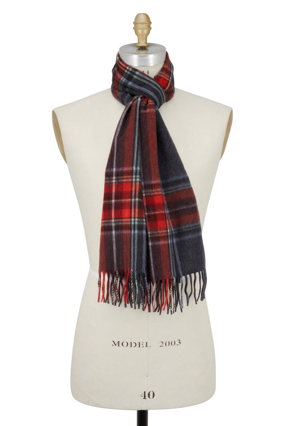 Alex Begg Dark Gray Plaid Wool & Angora Scarf