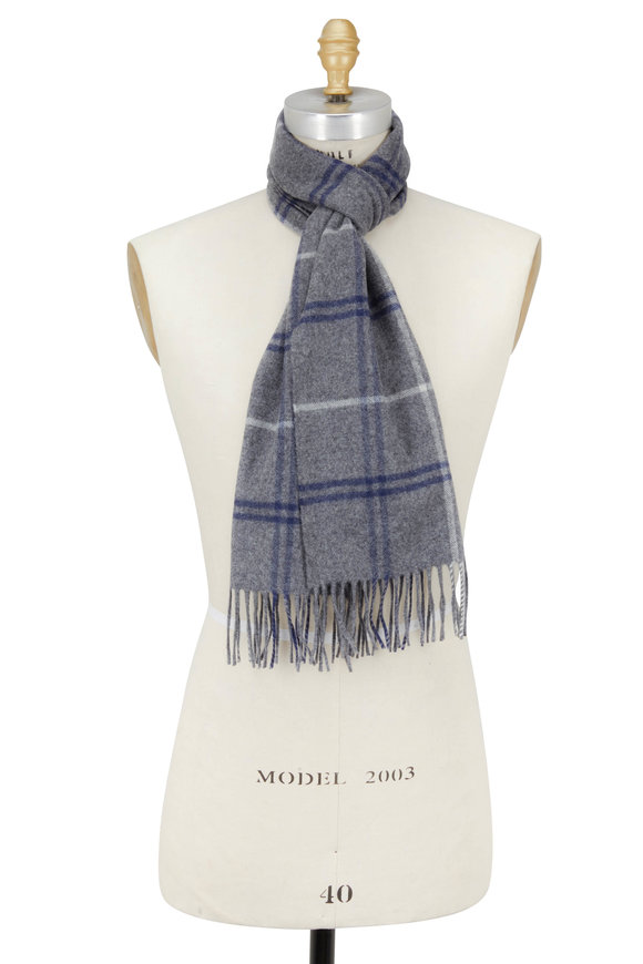 Alex Begg Pemberton Gray & Navy Plaid Scarf