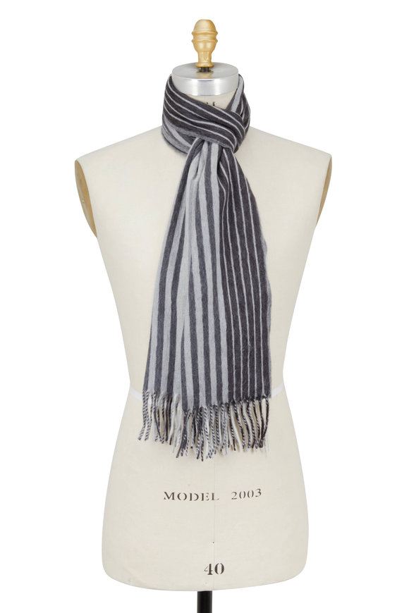 Alex Begg Monochromatic Gray Plaid Scarf
