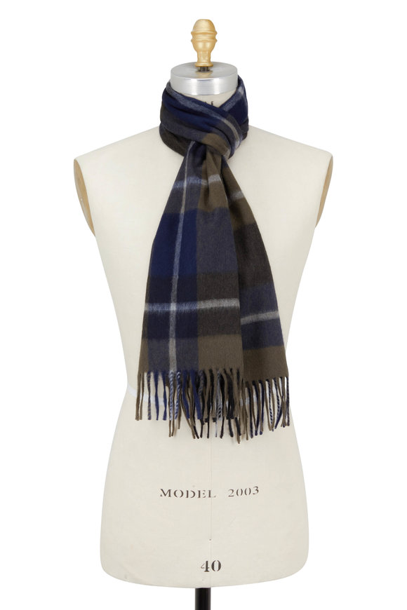 Alex Begg Green Plaid Wool & Agnora Scarf
