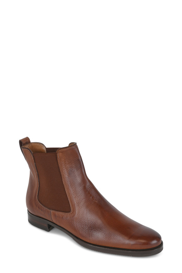 Gravati Cognac Leather Side Gore Ankle Boot