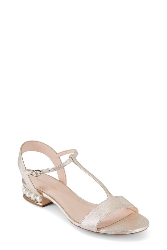 Nicholas Kirkwood Casati Light Gold Strap Sandal, 25MM