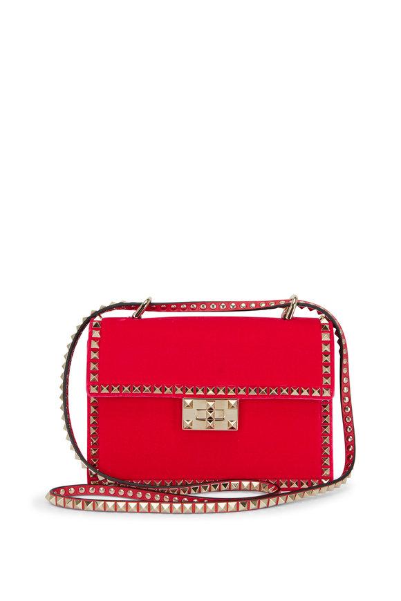 Valentino Garavani Rockstud Disco Pink Suede Small Shoulder Bag
