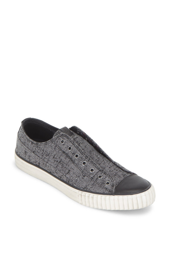 John Varvatos Stone Gray Canvas Laceless Low Top Sneaker