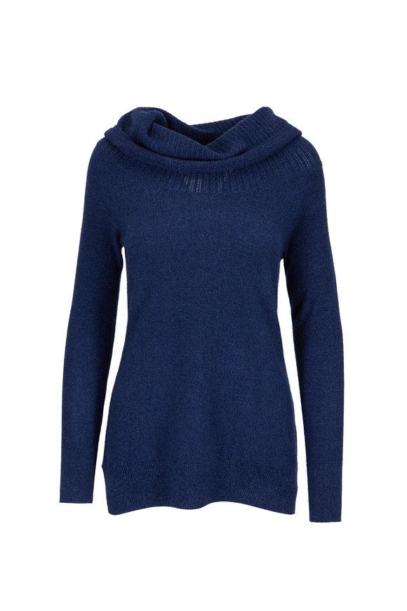 Raffi  Deep Sea Blue Cashmere Off-The-Shoulder Sweater