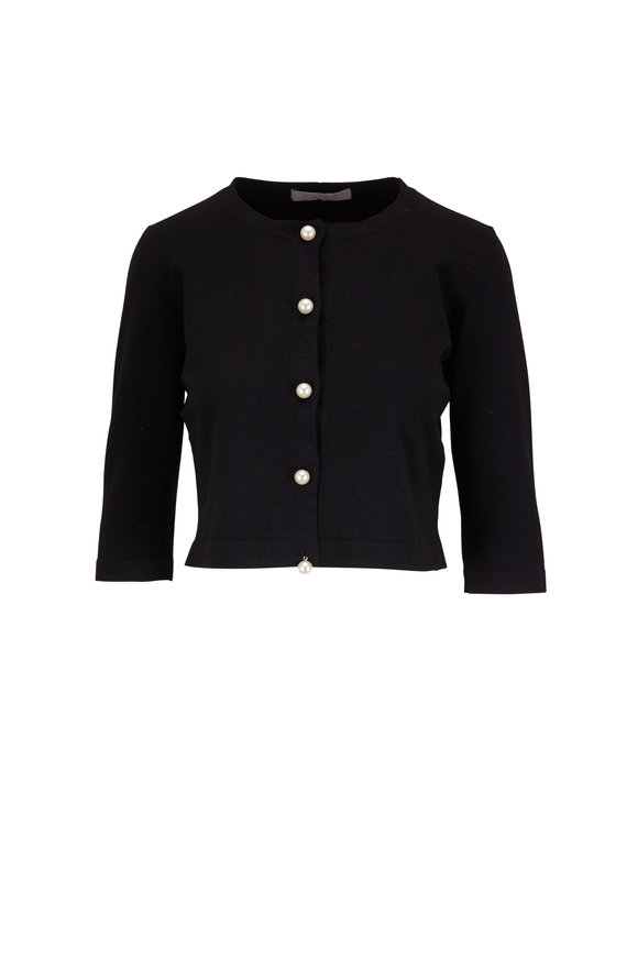 D.Exterior Black Pearl Button Cropped Cardigan