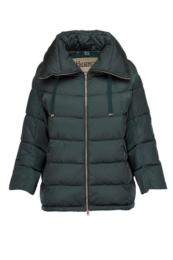 Herno Green Sateen Puffer Three-Quarter Sleeves Jacket