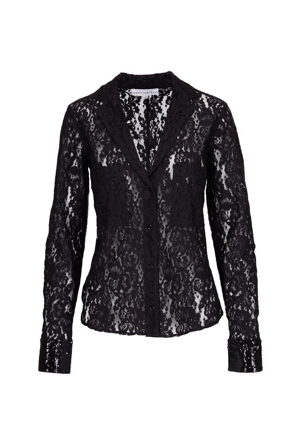 Robert Rodriguez Black Lace Shirt Blouse
