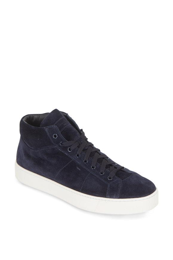 Santoni Baker Blue Suede Mid-Top Sneaker