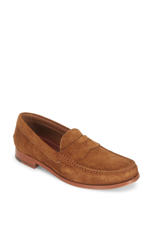Trask Sadler Snuff English Suede Penny Loafer