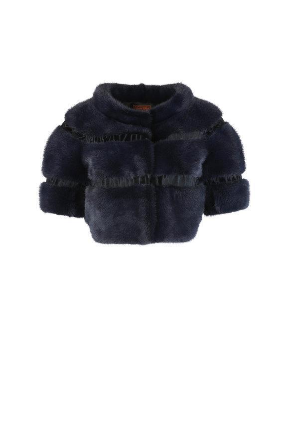 Viktoria Stass Navy Blue Mink & Kangaroo Bolero Jacket