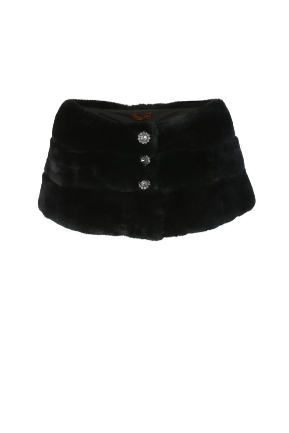 Viktoria Stass Black Rex Fur Three-Ring Stole