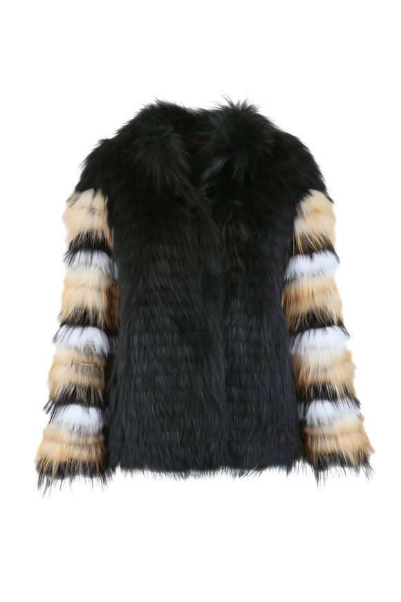 Viktoria Stass Black & White Fox Fur Jacket