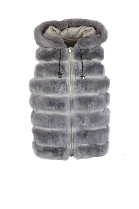 Viktoria Stass Gray Rex Rabbit Fur Reversible Hooded Vest
