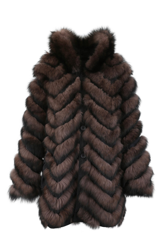 Viktoria Stass Sable & Black Fox Fur Reversible Coat