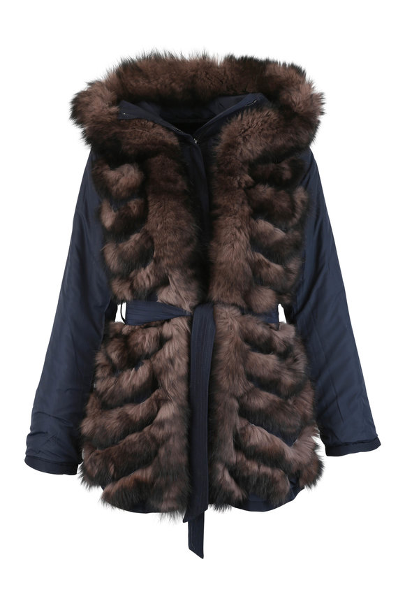 Viktoria Stass Brown Fox & Navy Microfiber Convertible Parka