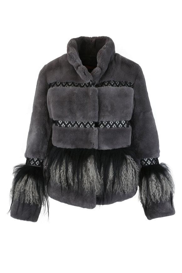 Viktoria Stass Gray & Black Rabbit & Lamb Trim Tibet Coat