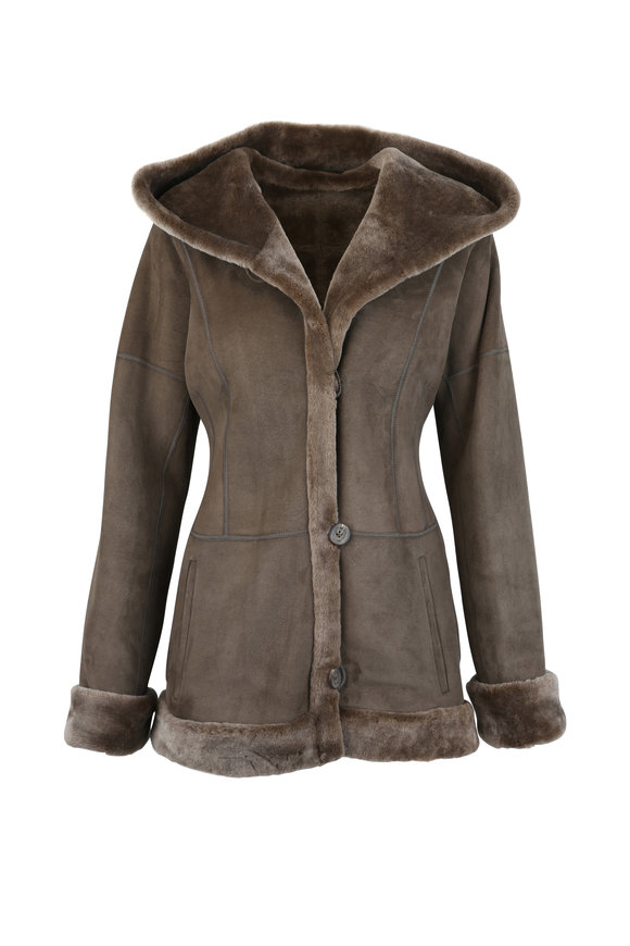 Viktoria Stass Beige Merino Shearling Hooded Jacket