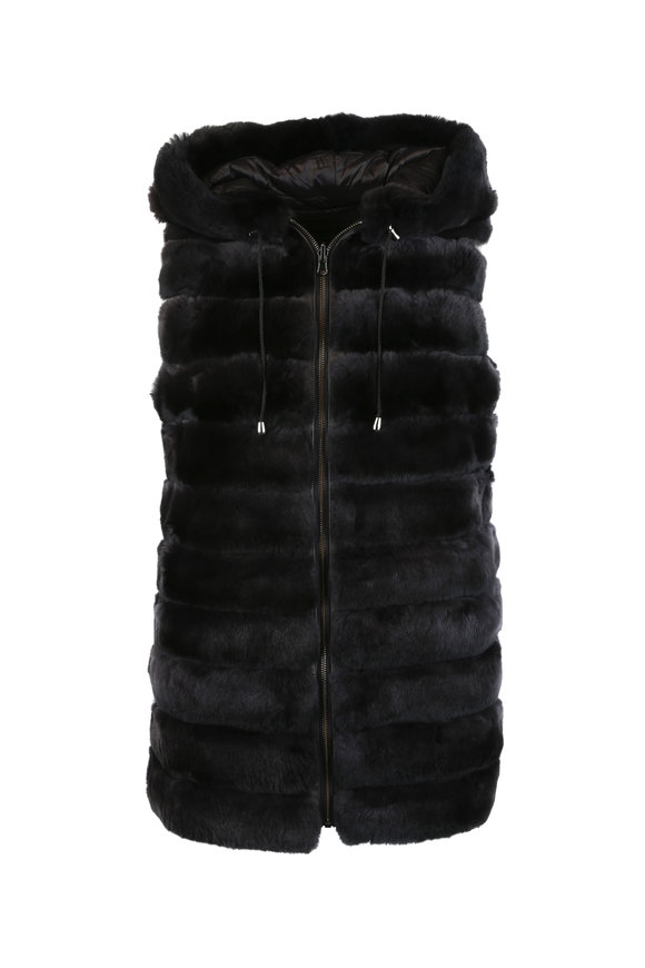 Viktoria Stass Dark Brown Rex Rabbit Fur Reversible Hooded Vest