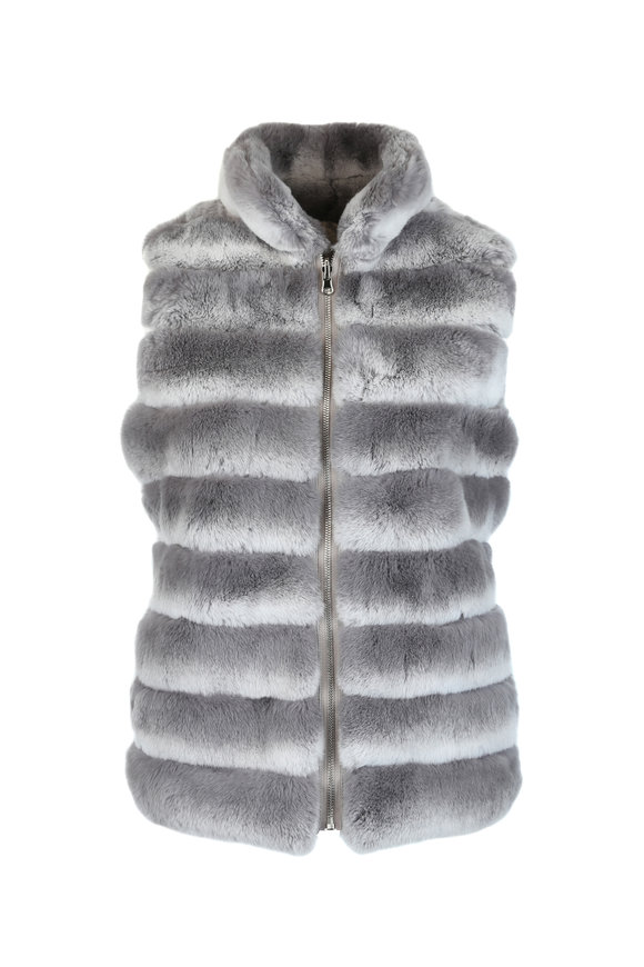 Viktoria Stass Gray Rex Rabbit Fur Reversible Vest