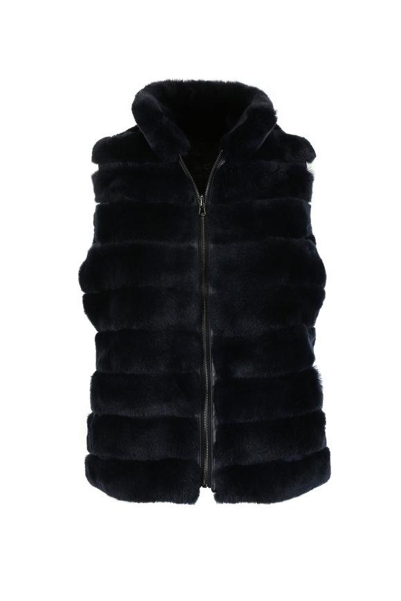 Viktoria Stass Navy Blue Rex Rabbit Reversible Vest