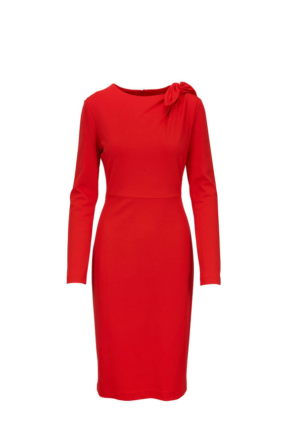 Escada Demina Ruby Red Long Sleeve Front Knot Dress