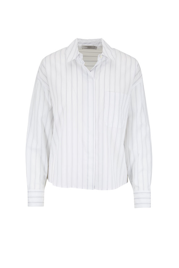 Vince Optic White Pinstripe Cotton Shirt