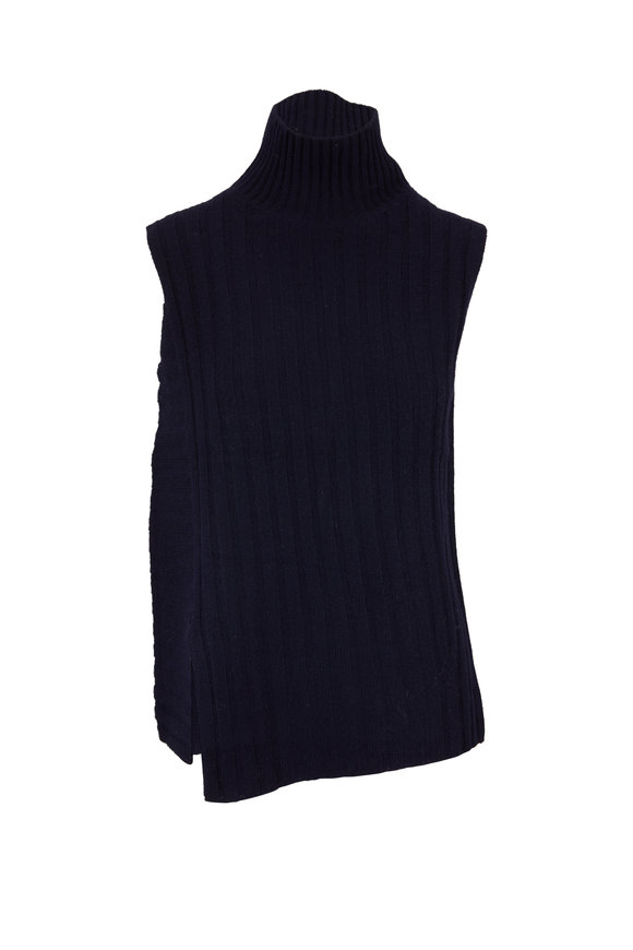 Vince Coastal Blue Mixed Rib Sleeveless Turtleneck