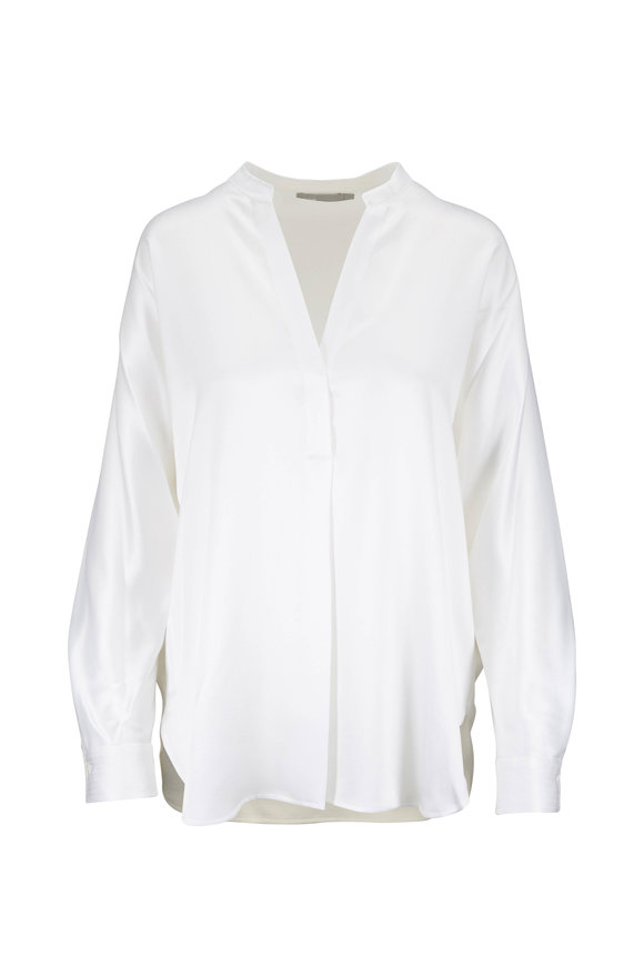 Vince Optic White Silk Banded Collar Blouse