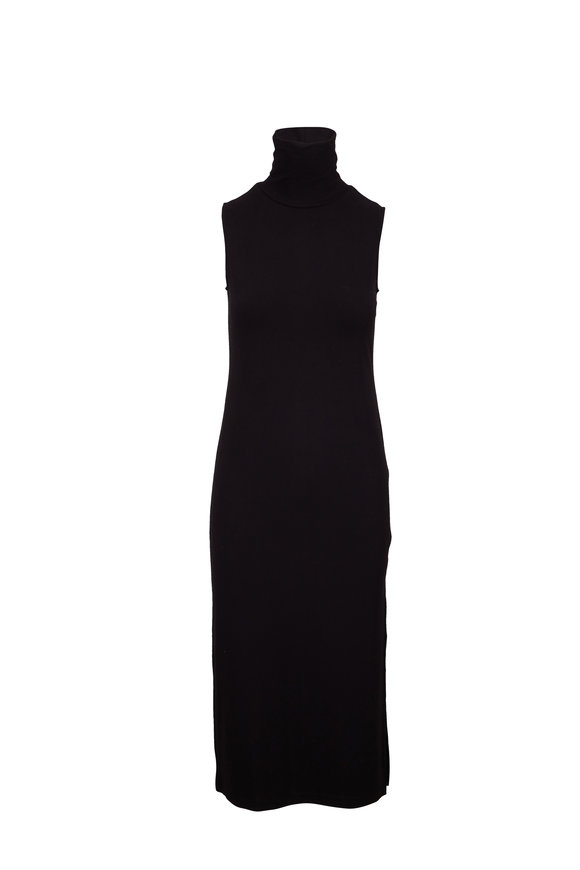 Vince Black Sleeveless Turtleneck Midi Dress