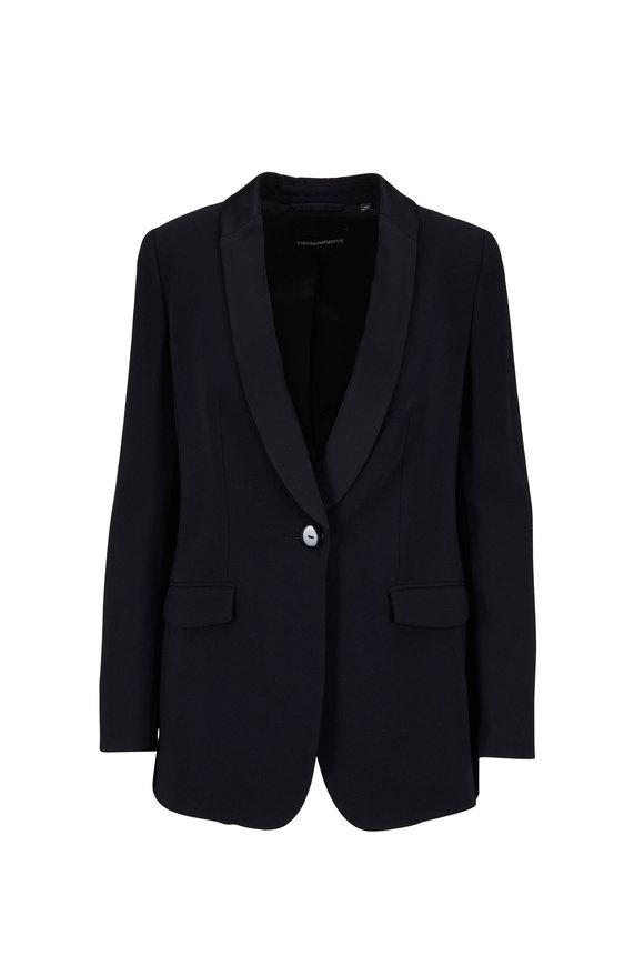 Emporio Armani Black Satin Lapel Single-Breasted Jacket