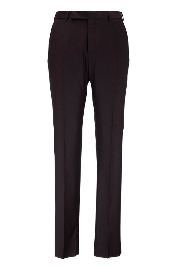 Ermenegildo Zegna Dark Brown Wool & Silk Dress Pant