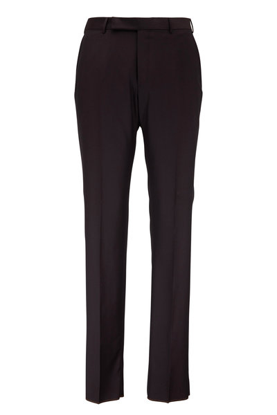 Ermenegildo Zegna - Dark Brown Wool & Silk Dress Pant