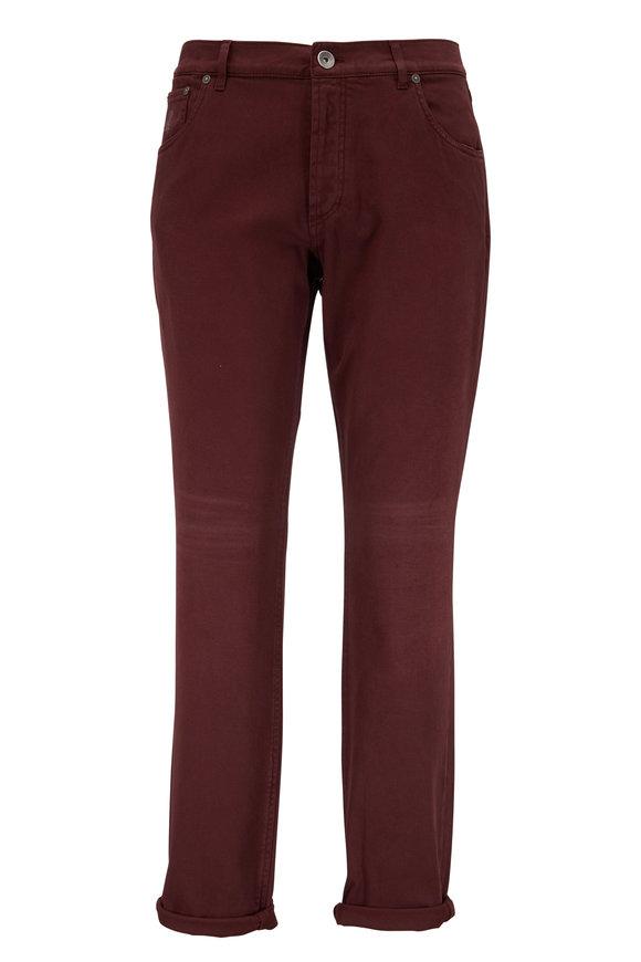 Brunello Cucinelli Burgundy Traditional Fit Five-Pocket Jean