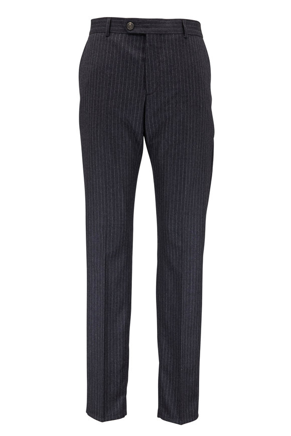 Brunello Cucinelli Charcoal Gray Striped Wool Pant