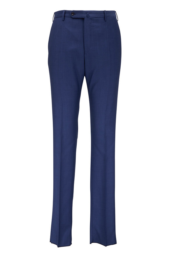 Incotex Navy Blue Wool Micro Texture Pant
