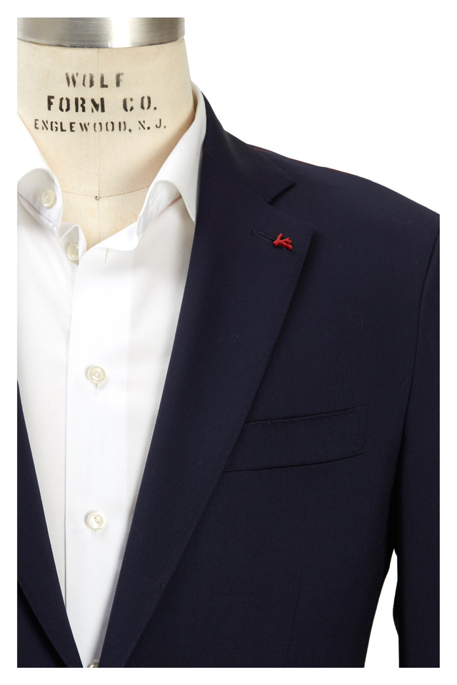 New Solid Blue Worsted Wool Suit