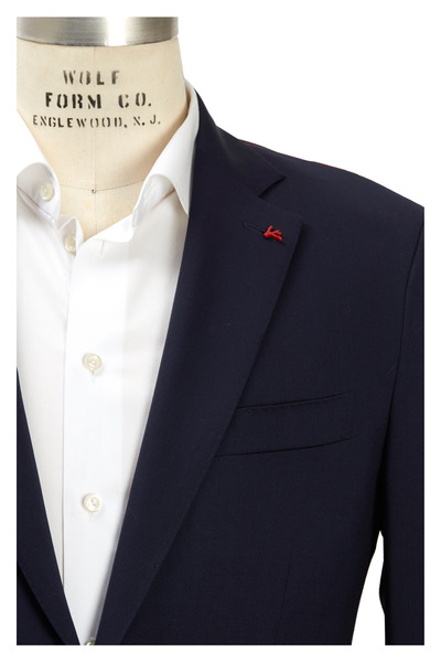 Isaia - New Solid Blue Worsted Wool Suit