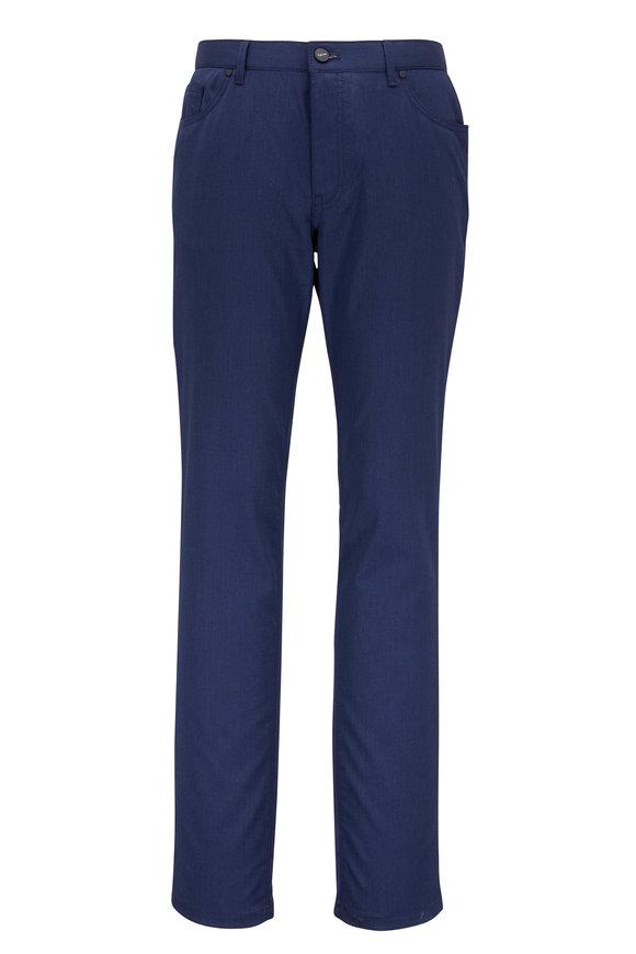 Hiltl Sartorial Navy Blue Stretch Wool Five-Pocket Pant