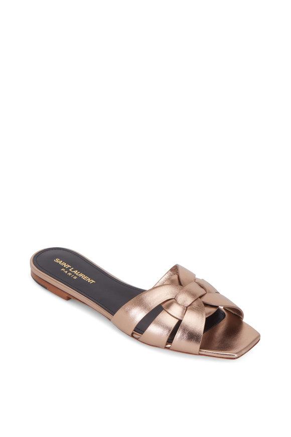 Saint Laurent Nu Pieds Tribute Rosegold Metallic Flat Sandal