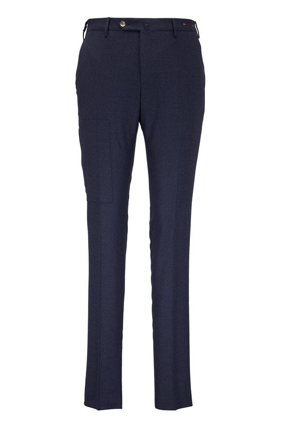 PT Pantaloni Torino Traveller Navy Blue Wool Blend Sharp Fit Pant