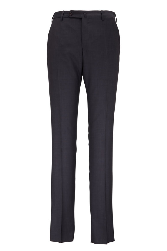Incotex Anthracite Wool Micro Texture Modern Fit Pant