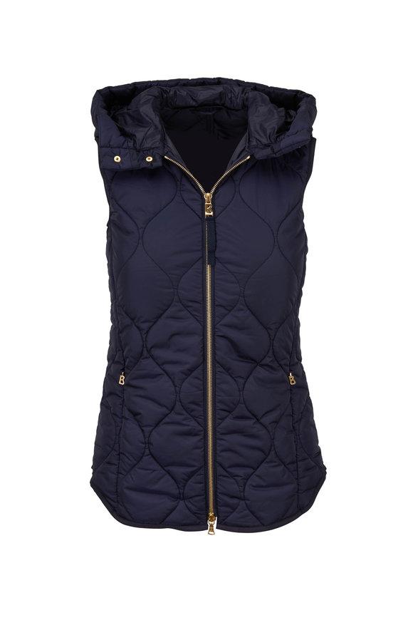 Bogner Navy Blue Diamond Quilted Hooded Vest