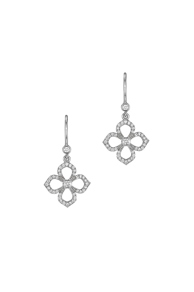 White Gold Diamond Flower Petal Earrings