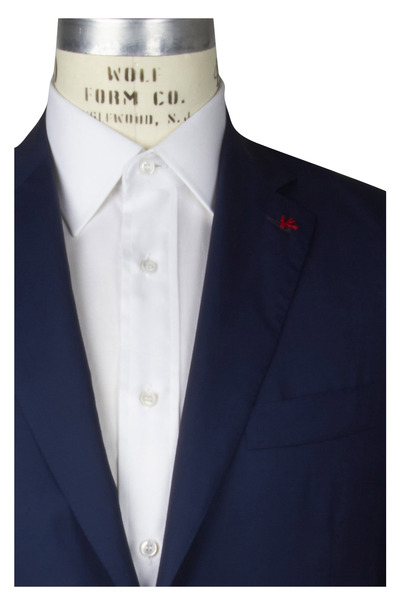 Isaia - High Solid Blue Wool & Silk Sportcoat