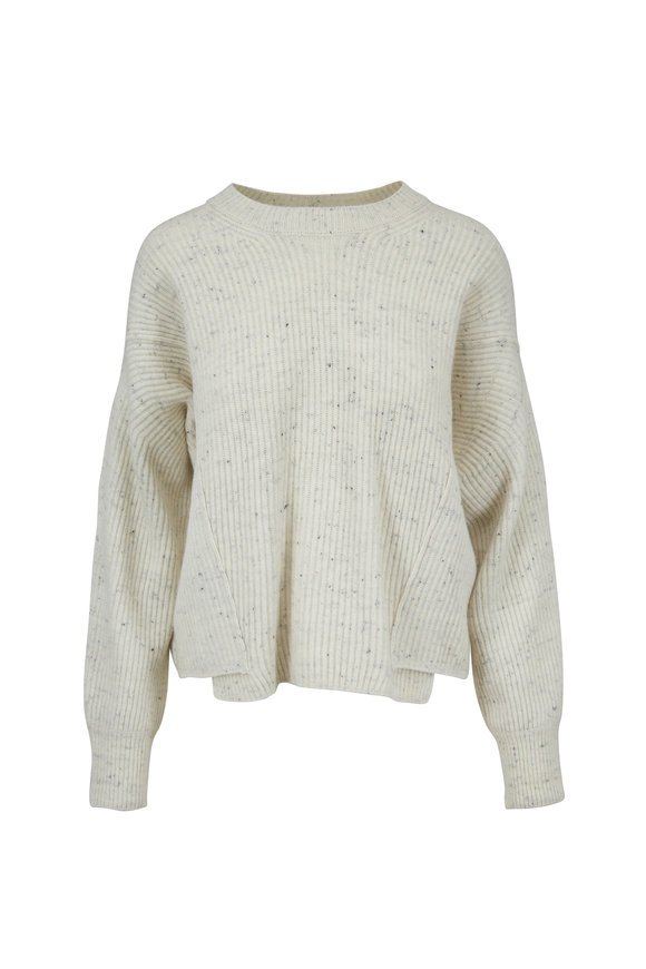 Vince Cream Wool & Cashmere Overlap Panel Sweater